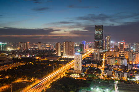 Hanoi skyline cityscape during sunset period at Pham Hung street in Cau Giay district in 2020.
