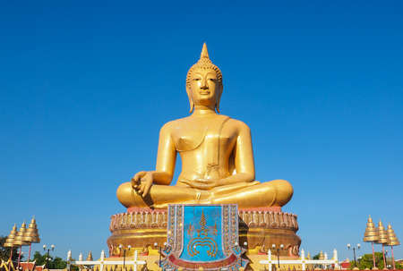 singburi: BIG GOLDEN BUDDHA IN PIKUL THONG TEMPLE SINGBURI THAILAND
