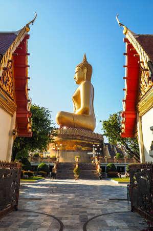 singburi: SIDE OF GOLDEN BUDDHA IN PIKUL THONG TEMPLE SINGBURI