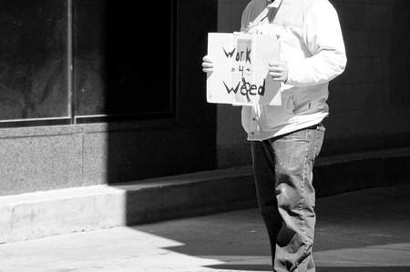 man willing to work for weed in Denver Stock fotó
