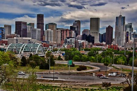Denver skyscrapers viewed from across highway