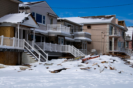 Six months after Hurricane Sandys storm surge destroyed countless homes along the Rockaway coastline, the area is still rebuilding. Stock fotó