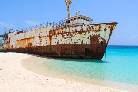 shipwreck: Shipwreck on Caribbean Beach Stock Photo