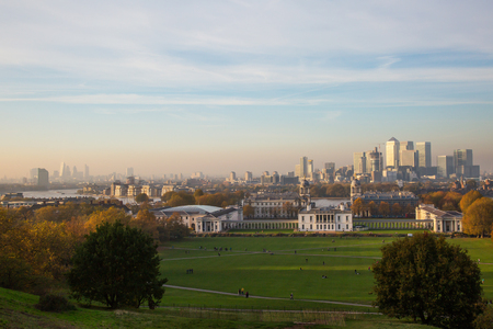 greenwich: Skyline of London from Greenwich Hill Stock Photo