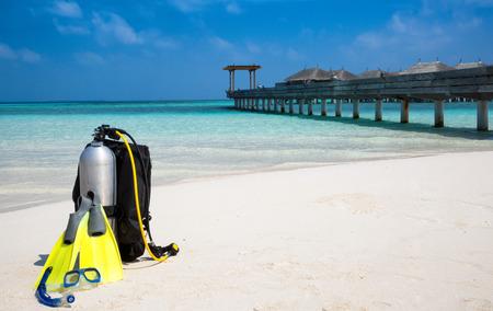 Snorkeling gear on a Maldivian beach