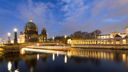 spree: Berlin Cathedral by the river Spree at night