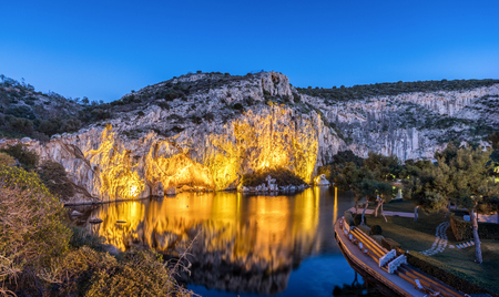 Lake Vouliagmeni in south Athens, Greece, just after sunset