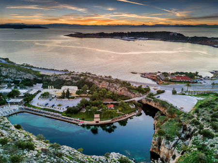 Aerial view from Lake Vouliagmeni during sunset, south Athens, Greece 스톡 콘텐츠