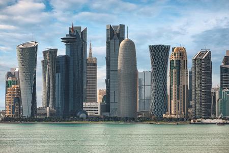 The skyline of Doha, Qatar, on a sunny day Editorial