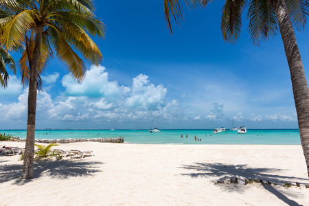 View to Playa Norte, the tropical beach on the island of Isla Mujeres in Mexico