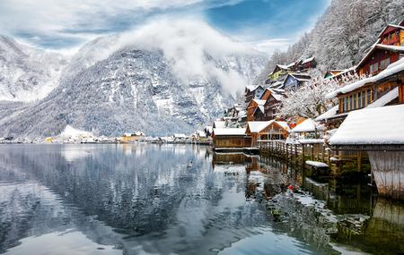 The alpine village Hallstatt, Austria, snow covered in winter time