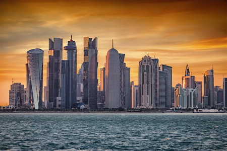 The skyscrapers of Doha, Qatar, in the West Bay during sunset