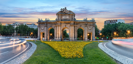 The Puerta Alcala, Alcala Door in Madrid, Spain at sunset