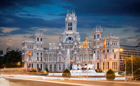 City Hall on Plaza de Cibeles in Madrid, Spain, after sunset 에디토리얼