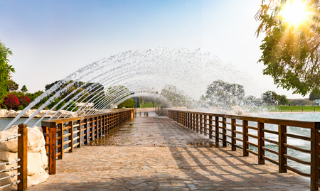 Bridge with fountain in the Aspire park in Doha, Qatar