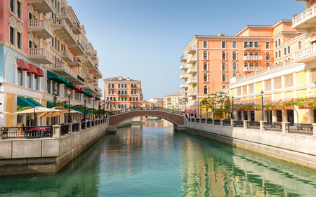 Venice like Qanat Quartier at the Pearl in Doha, Qatar
