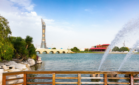 View from the Aspire Park towards the Torch, Doha, Qatar