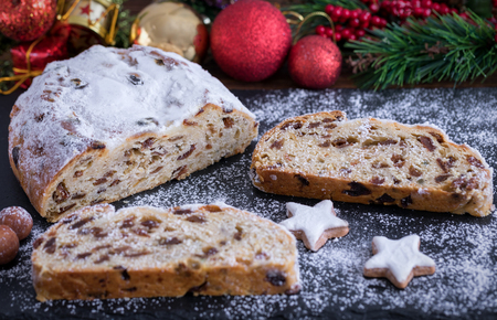 Stollen for Christmas, a traditional, German cake with cinnamon stars and decorations