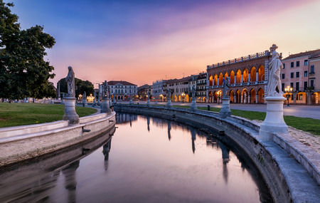The Prato della Valle square in Padova, Italy during a sunset