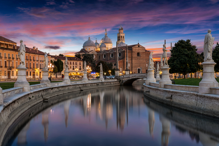 The square of Prato della Valle in Padova, Italy, after sunset
