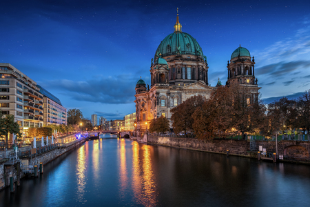The Berliner Dom at night with stars in the sky, Germany Stock Photo