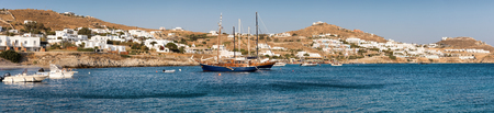 Panoramic view over the bay of Agios Ioannis Diakoftis on Mykonos island, Greece during summer Imagens