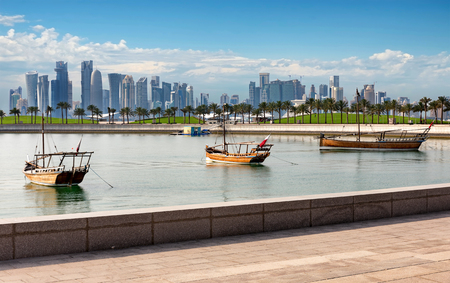 The Skyline of Doha, Qatar, on a sunny day