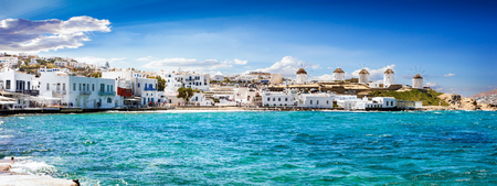 Panoramic view to the famous windmills of Mykonos, Cyclades, Greece Stockfoto