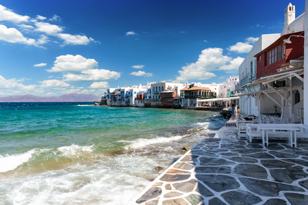 Little Venice in the town of Mykonos, Cyclades, Greece