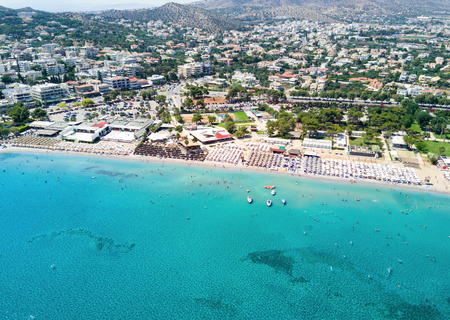 Aerial view of Varkiza resort and beach close to Athens, Greece