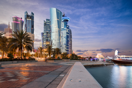Doha City Center and Corniche street at sunset, Qatar