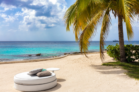 Luxurious sunbed under palm trees in the caribbean sea, Cozumel Island, Mexico