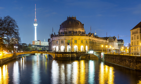Bodemuseum and Museumsinsel in Berlin, Germany, by night