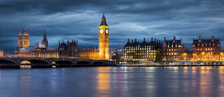 Big Ben and Westminster Bridge on a moody day in London
