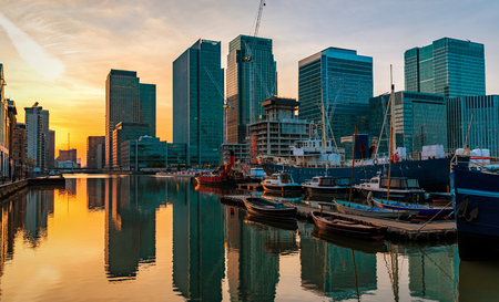 Canary Wharf and the Docklands in London during sunset, United Kingdom Stock Photo