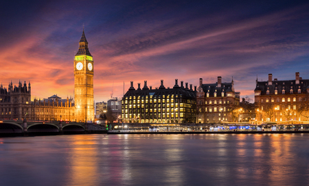 Big Ben and the City of Westminster in London after sunset, United Kingdom