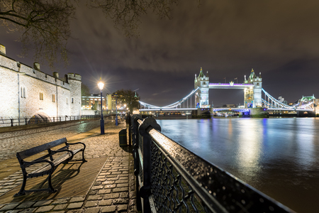 The Tower Bridge in London seen from the Tower by night Stok Fotoğraf