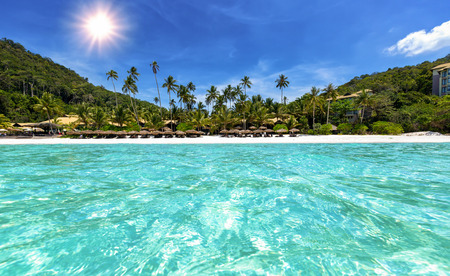 Tropical Beach with turquoise waters in Malaysia Stock Photo