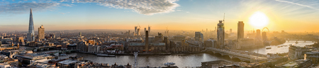 The new skyline of London during colorful sunset, United Kingdom Foto de archivo