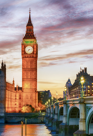 Big Ben, Westminster, London, after colorful sunset