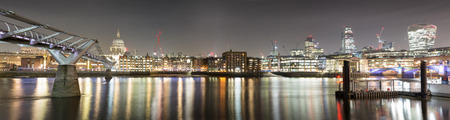 Panoramic view from St. Pauls Cathedral to the city of London by night Stock Photo