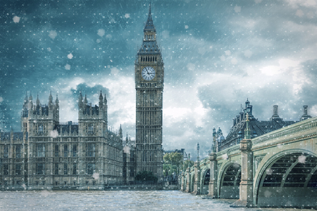 Big Ben and Westminster Bridge on a cold, snowy winter day, London, United Kingdom