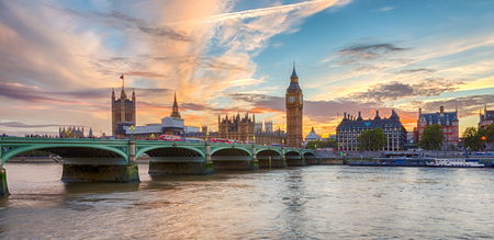 Panoramic view ot Westminster and Big Ben in London during a colorful sunset