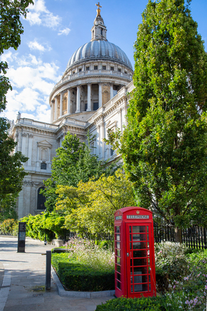 Red telephone booth in front of St. Pauls Cathedral London