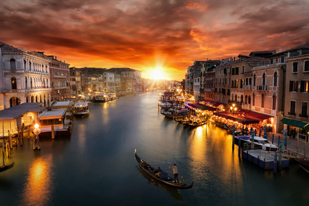 Romantic sunset over the Canale Grande in Venice, Italy