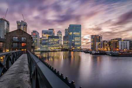 View to the financial district Canary Wharf on a stormy day, London, United Kingdom