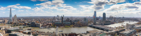 Panoramic view over the skyline of London, United Kingdom, on a sunny day