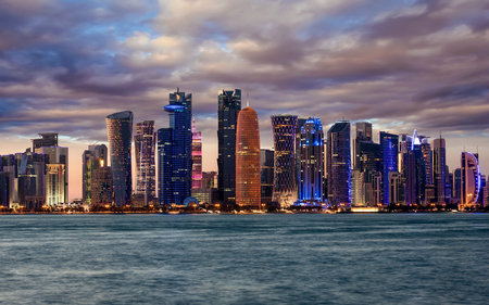 The skyline of Doha, Qatar, during a cloudy evening Reklamní fotografie
