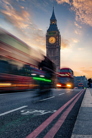 View to the Big Ben clocktower during rush hour in London, United Kingdom