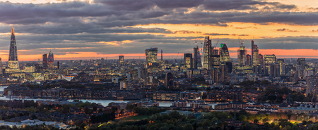 Panorama of the illuminated, urban skyline of London after sunset, United Kingdom Reklamní fotografie